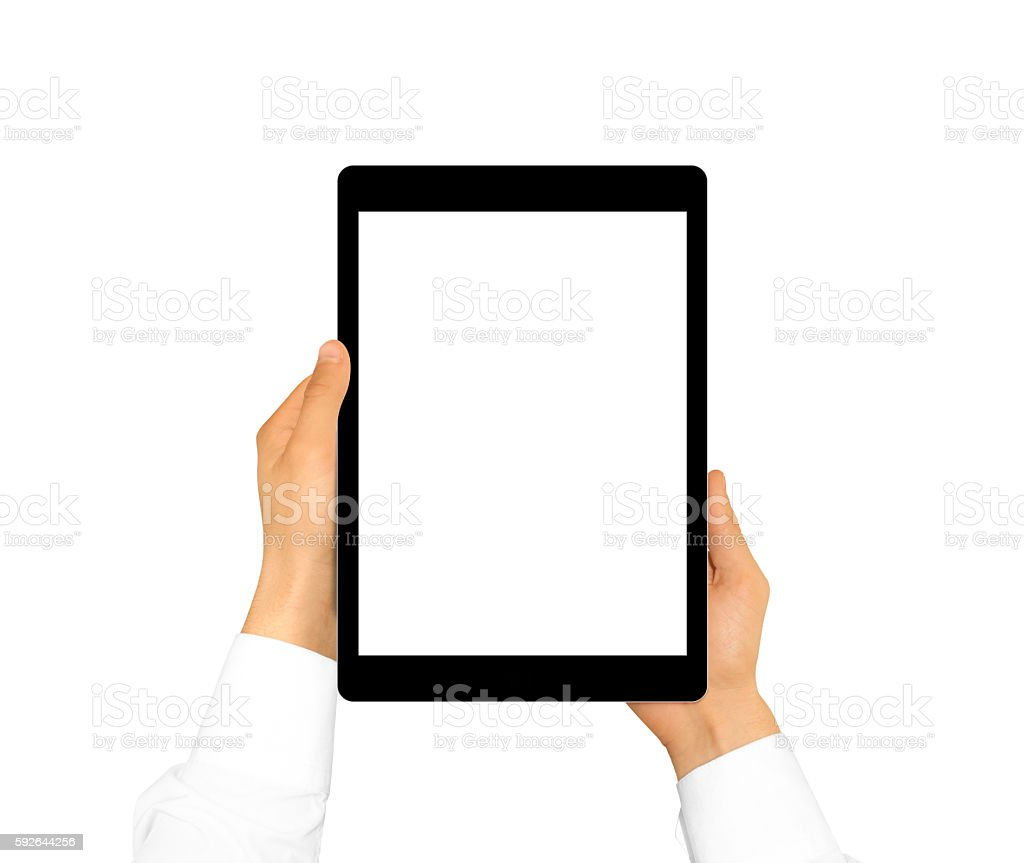 Hand holding blank tablet mock up isolated. New portable pc stock photo