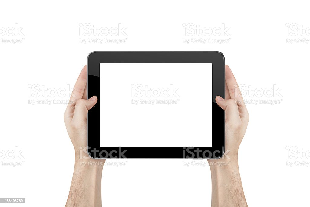 Hand Holding Blank Tablet stock photo