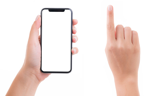 Woman hand holding blank white screen smart phone on white background. Isolated on white.
