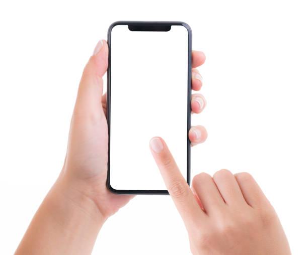 Hand halten leere weiße Bildschirm Smartphone – Foto