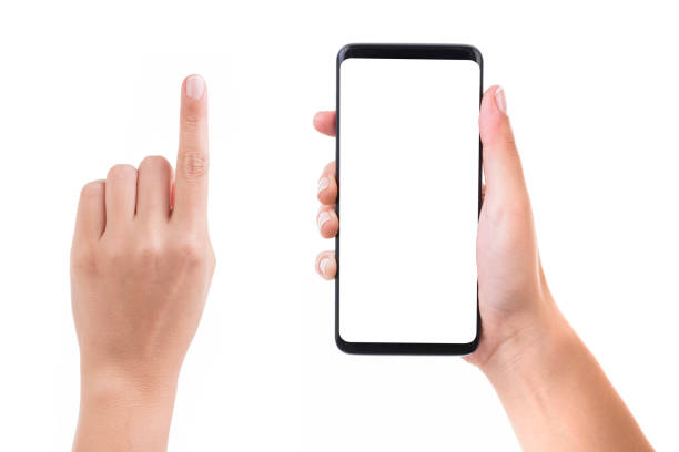 Hand holding blank white screen smart phone Woman hand holding blank white screen smart phone on white background. Isolated on white. human hand stock pictures, royalty-free photos & images