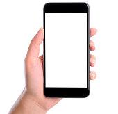 手に空白の画面を持つスマートフォンホワイト