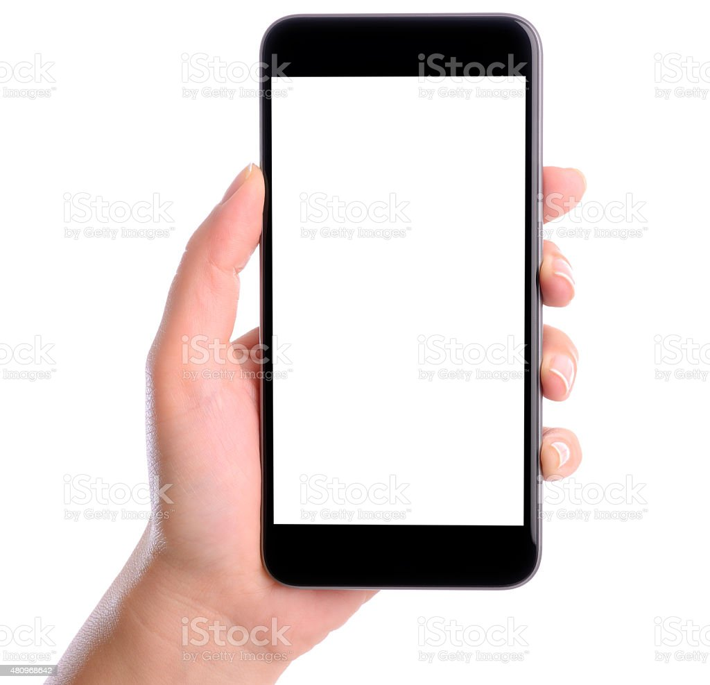 Hand holding blank white screen smart phone stock photo