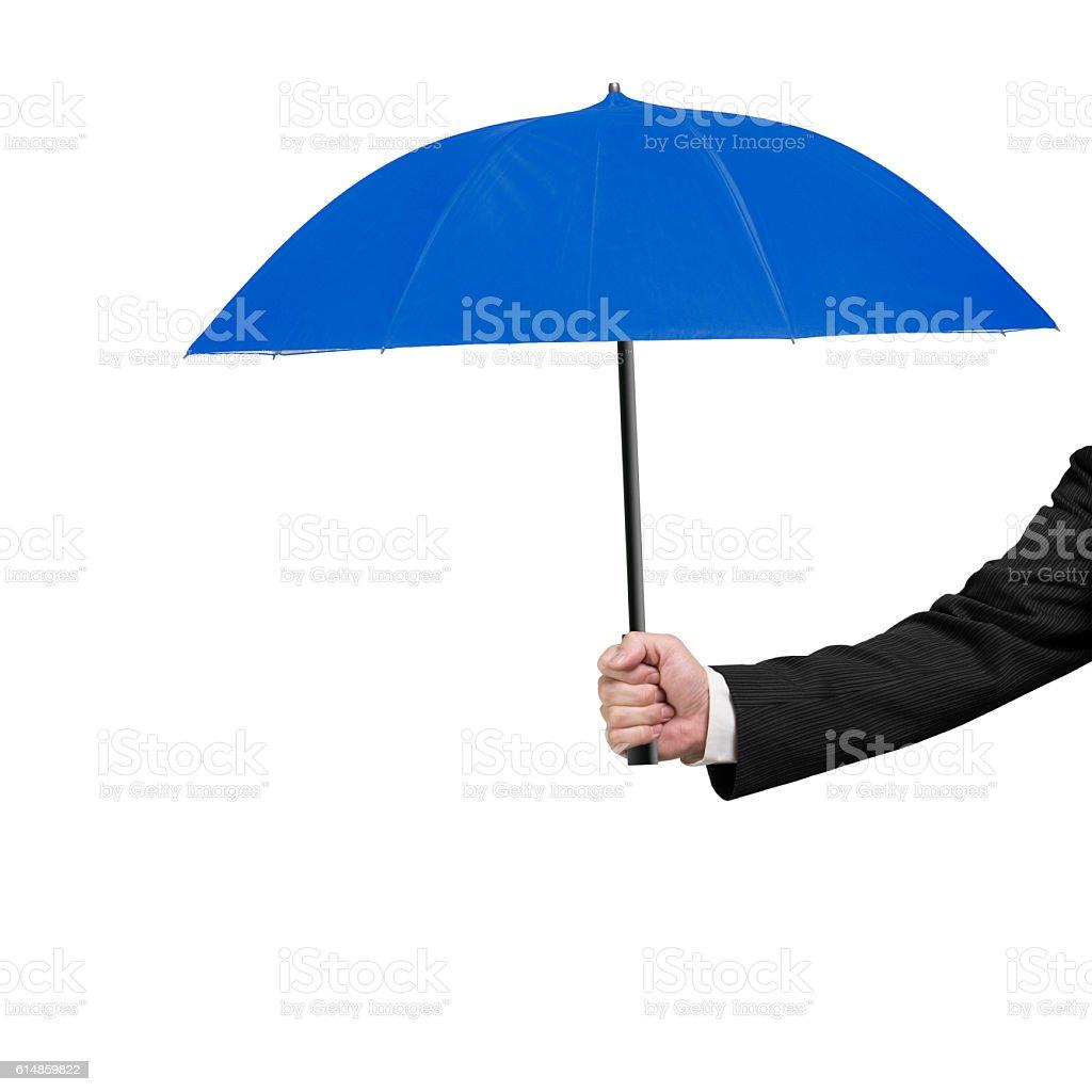 Hand holding blue umbrella – Foto