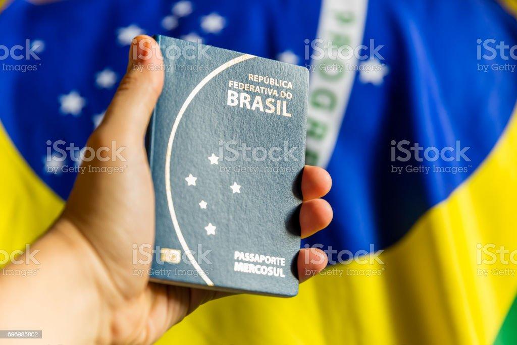 Hand holding Brazilian Passport stock photo