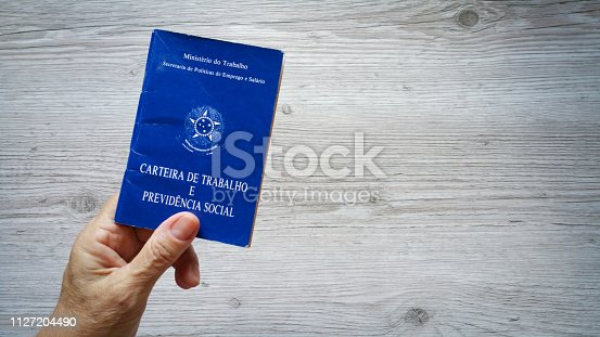 Hand holding Brazilian work portfolio