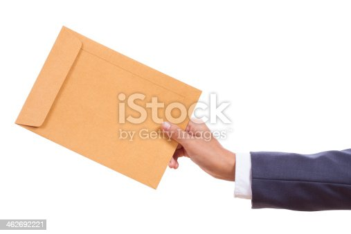 istock hand holding brown pack document 462692221