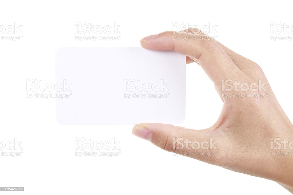 Hand holding business card on white background stock photo