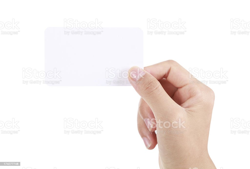 Hand holding business card on white background royalty-free stock photo