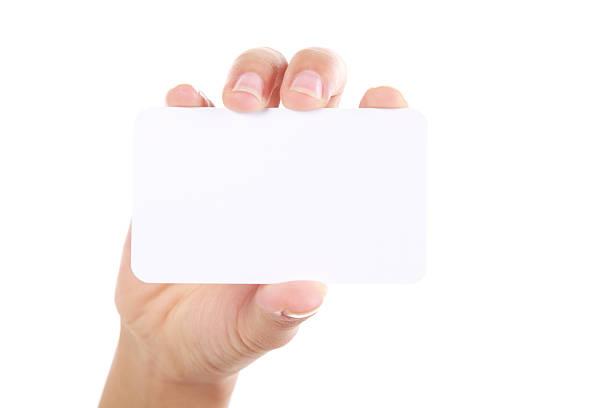 Hand, die Visitenkarte auf weißem Hintergrund – Foto