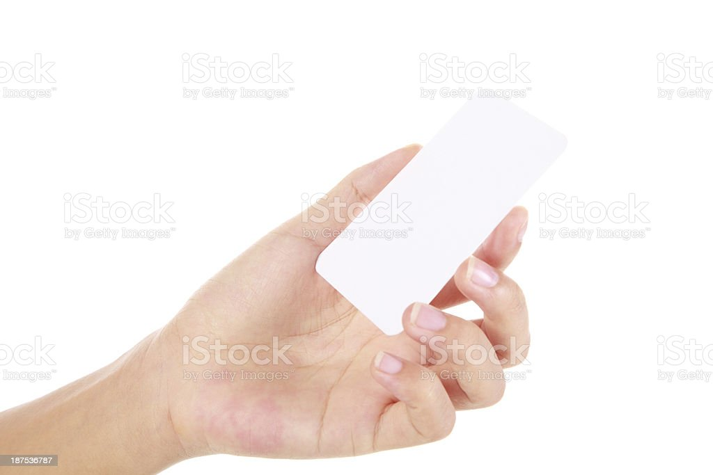 Hand Holding Business Card On White Background Stock Photo & More ...