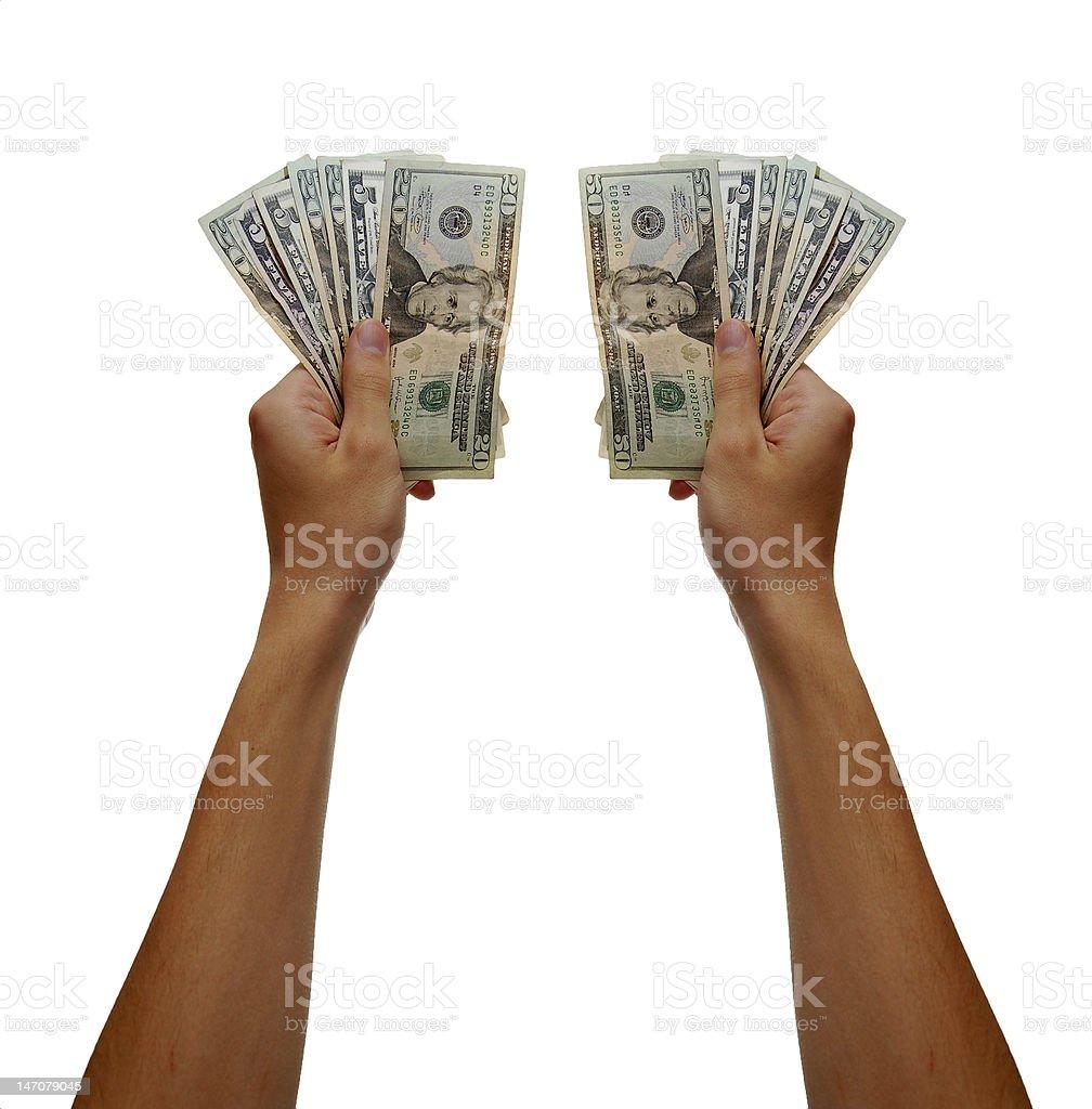 Hand holding cash stock photo