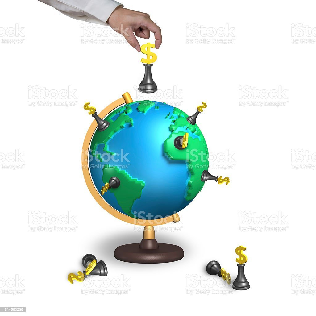 hand holding chess with 3d map terrestrial globe stock photo