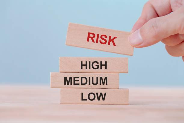 handhaltung wählt holzblockwürfel mit risikowort. risikomanagementkonzept. - abenteuer stock-fotos und bilder