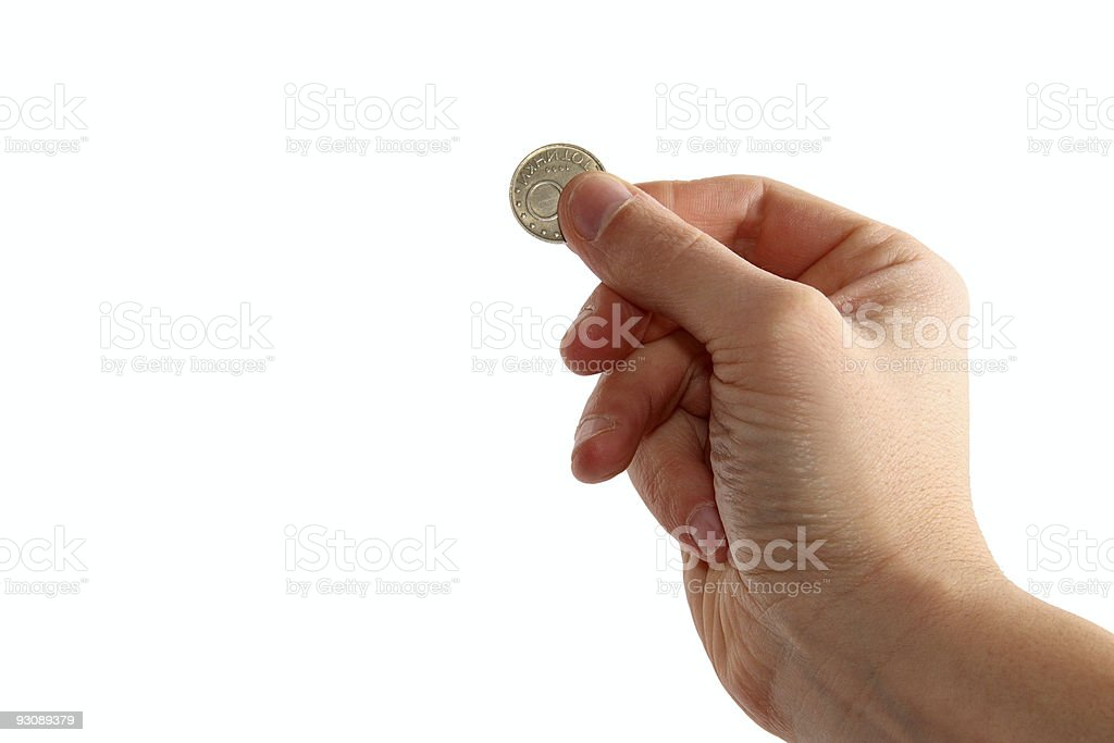 hand holding coin royalty-free stock photo
