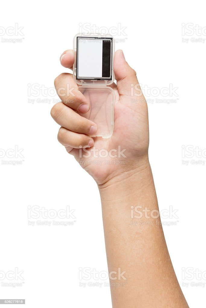 Hand holding Compact Flash Memory Card stock photo