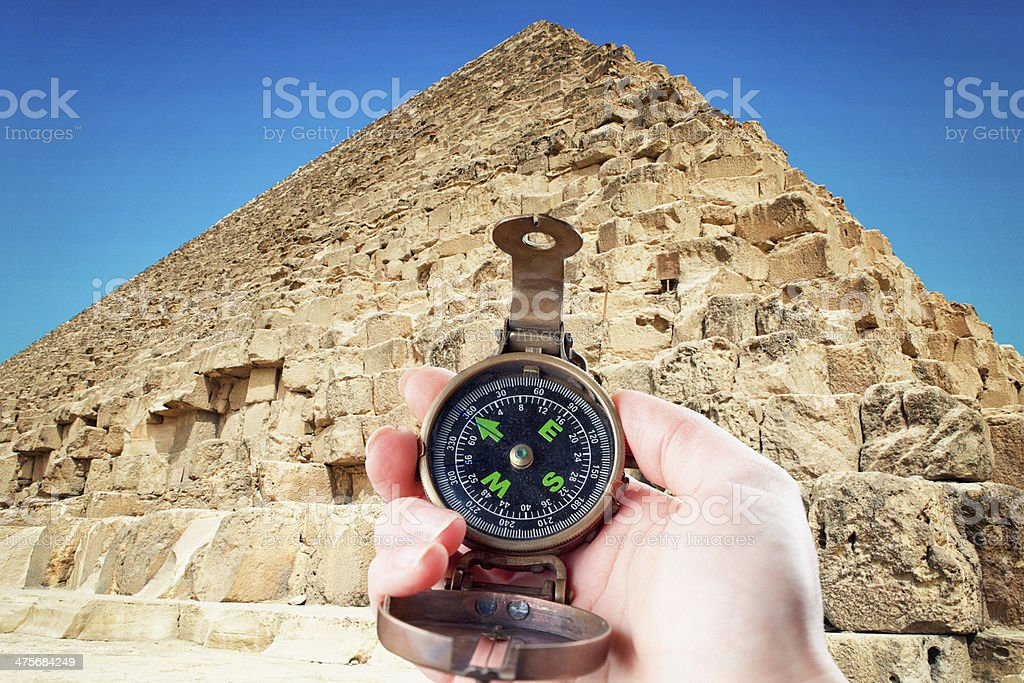Hand Holding Compass at the Great Pyramid stock photo