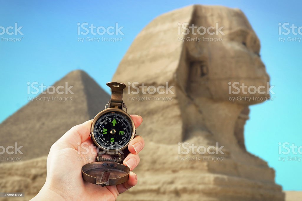 Hand Holding Compass at the Sphinx royalty-free stock photo