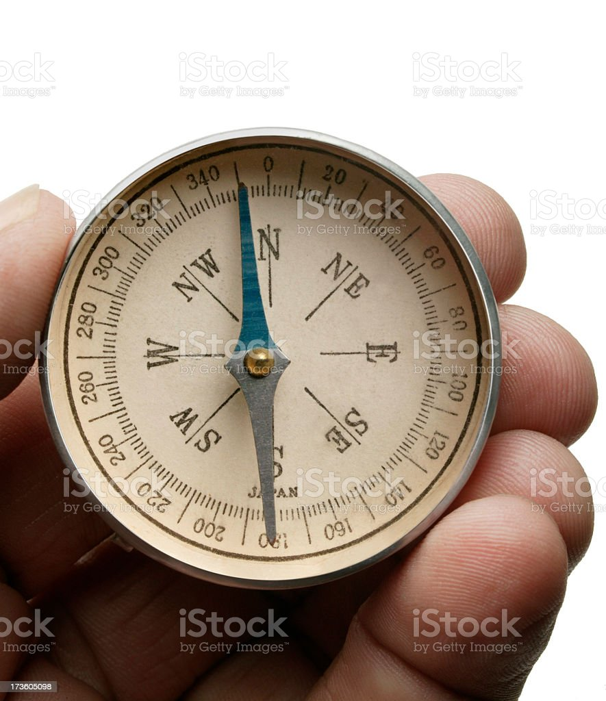 Hand Holding Compass On White Background stock photo