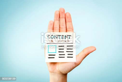 Hand with content is king message