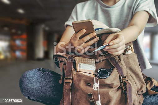 istock Hand holding credit card with hand for payment online shopping. 1028679800