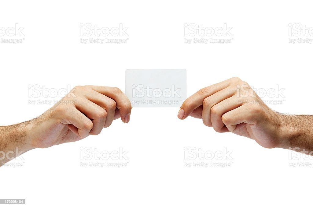 hand holding credit cards isolated on white background royalty-free stock photo