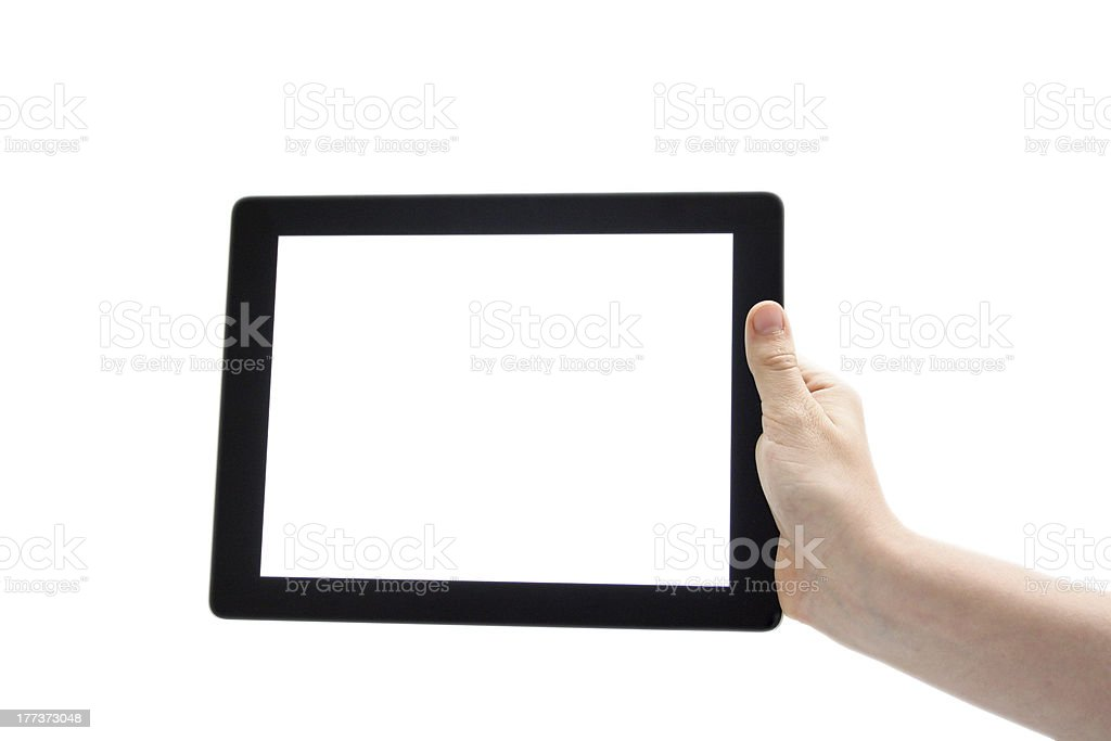 Hand Holding Digital Tablet Computer Pad stock photo