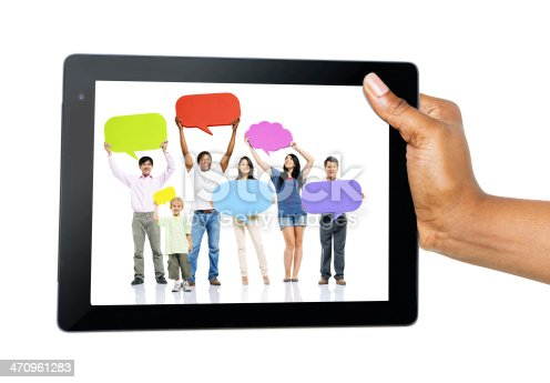 866758230 istock photo Hand Holding Digital Tablet with People and Speech Bubbles 470961283