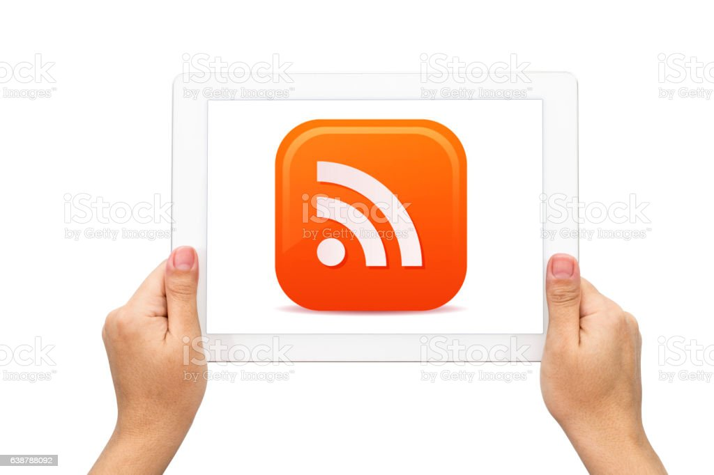 Hand Holding Digital Tablet with WIFI ICON stock photo
