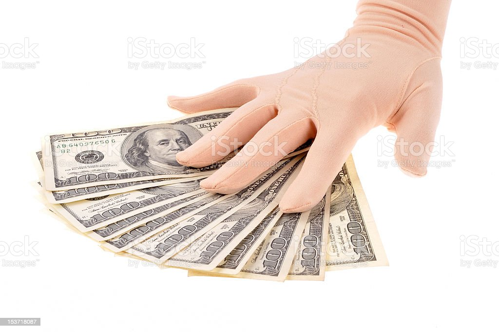 Hand holding dollars banknotes royalty-free stock photo