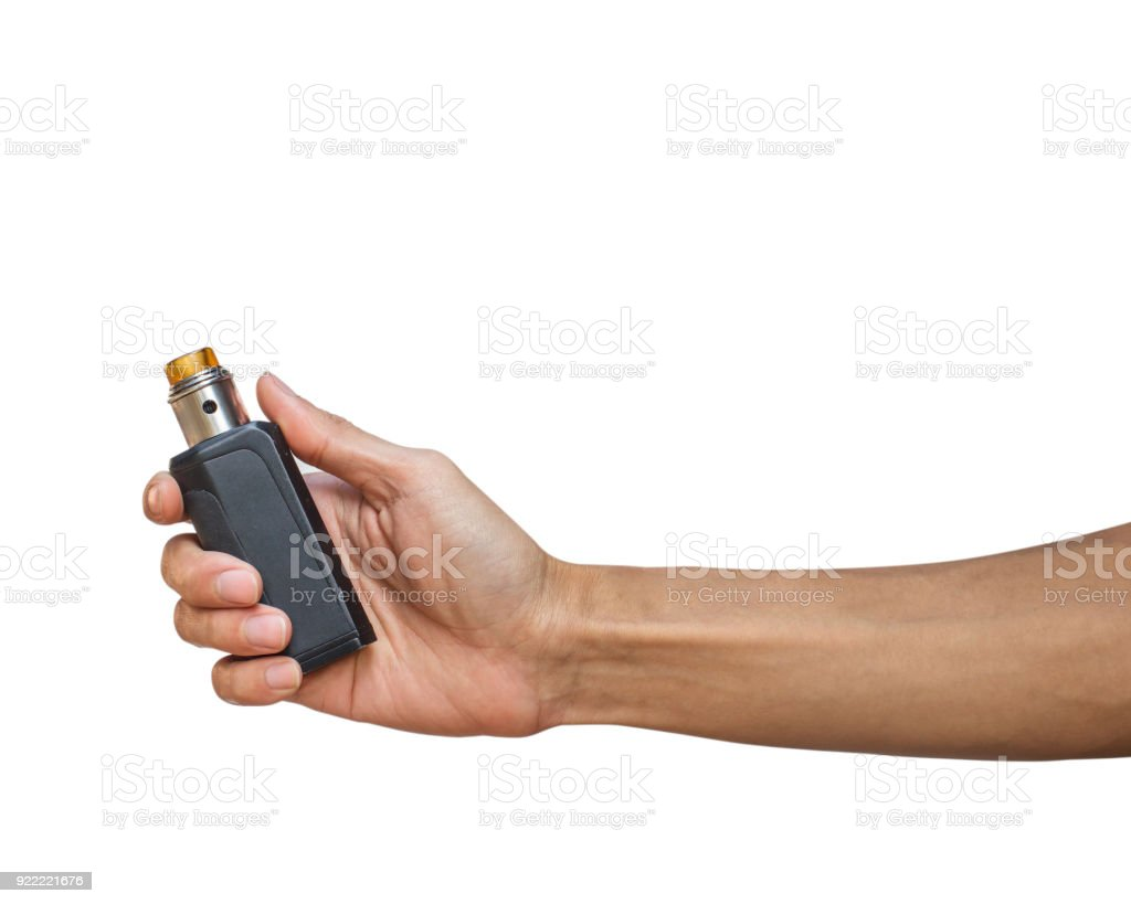 Hand holding Electric cigarette (Vapor cigarette) isolated on white background with clipping path. stock photo