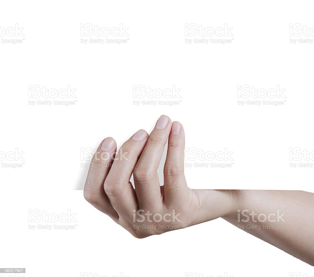 Hand holding empty paper royalty-free stock photo