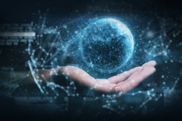 hand die futuristische technologiehologrammen houdt - new world stockfoto's en -beelden