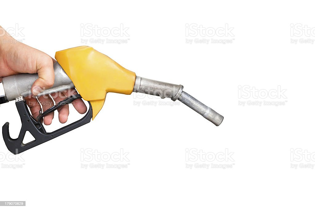hand holding gas pump nozzle royalty-free stock photo