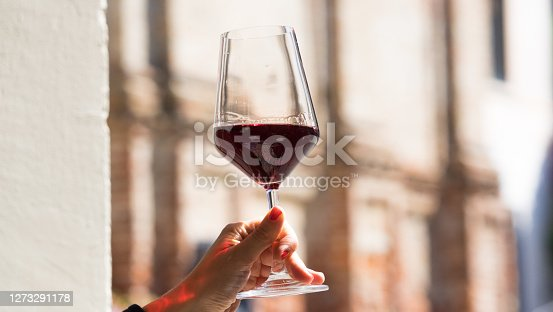 Hand Holding Glass of Wine