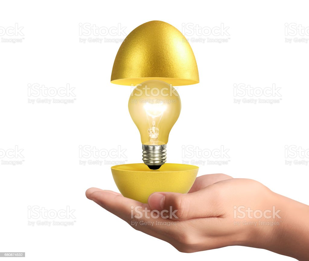 Hand Holding  golden eggs royalty-free stock photo