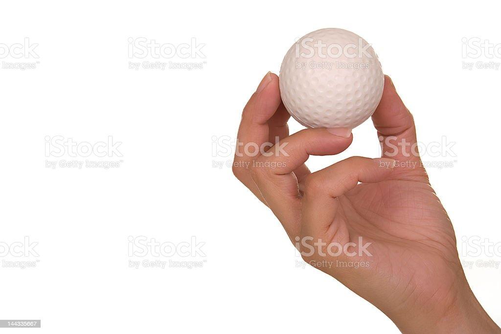 Mão segurando Bola de Golfe - fotografia de stock