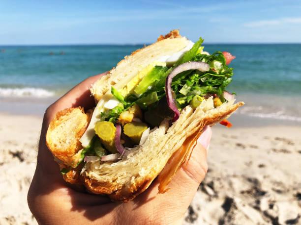 Hand Holding Gourmet Sandwich on the Beach stock photo