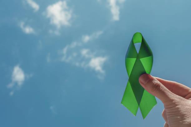 Hand hält grünes Band über blauem Himmel, Psychische Gesundheit Bewusstsein und Lymphom Bewusstsein, Welttag der psychischen Gesundheit – Foto