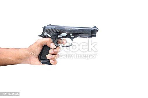 istock hand holding gun on isolated 851874944