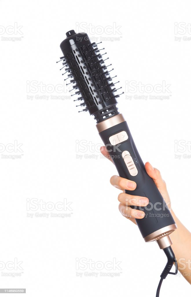 Hand Holding Hair Curling Iron Round Brush Stock Photo Download Image Now Istock