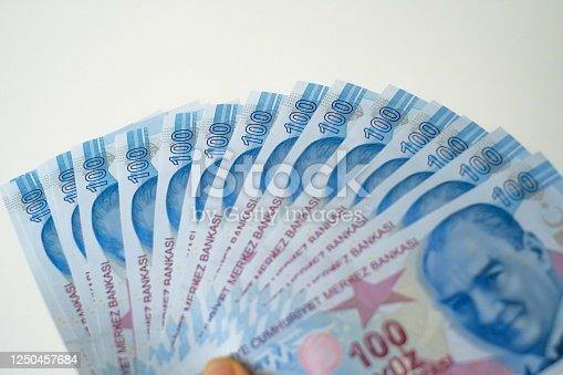 Hand holding hundred Turkish money Banknote
