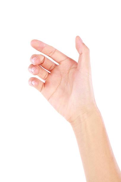 carta virtuale di mano tenere gesto su sfondo bianco - afferrare foto e immagini stock