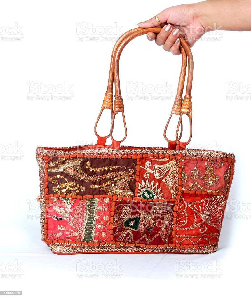 hand holding Indian traditional Handmade bag royalty-free stock photo