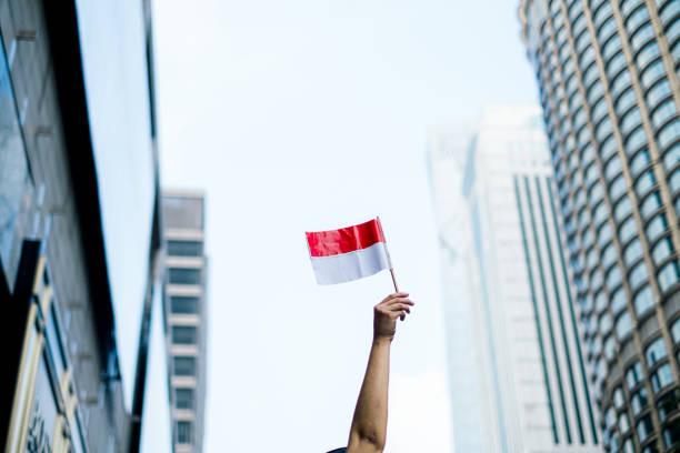 mão que prende a bandeira de indonésia - bandeira da indonesia - fotografias e filmes do acervo