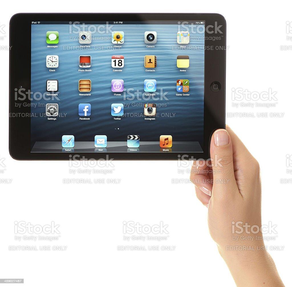 Hand holding iPad Mini royalty-free stock photo