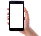 ハンド保持 iPhone 6 Plus に白背景