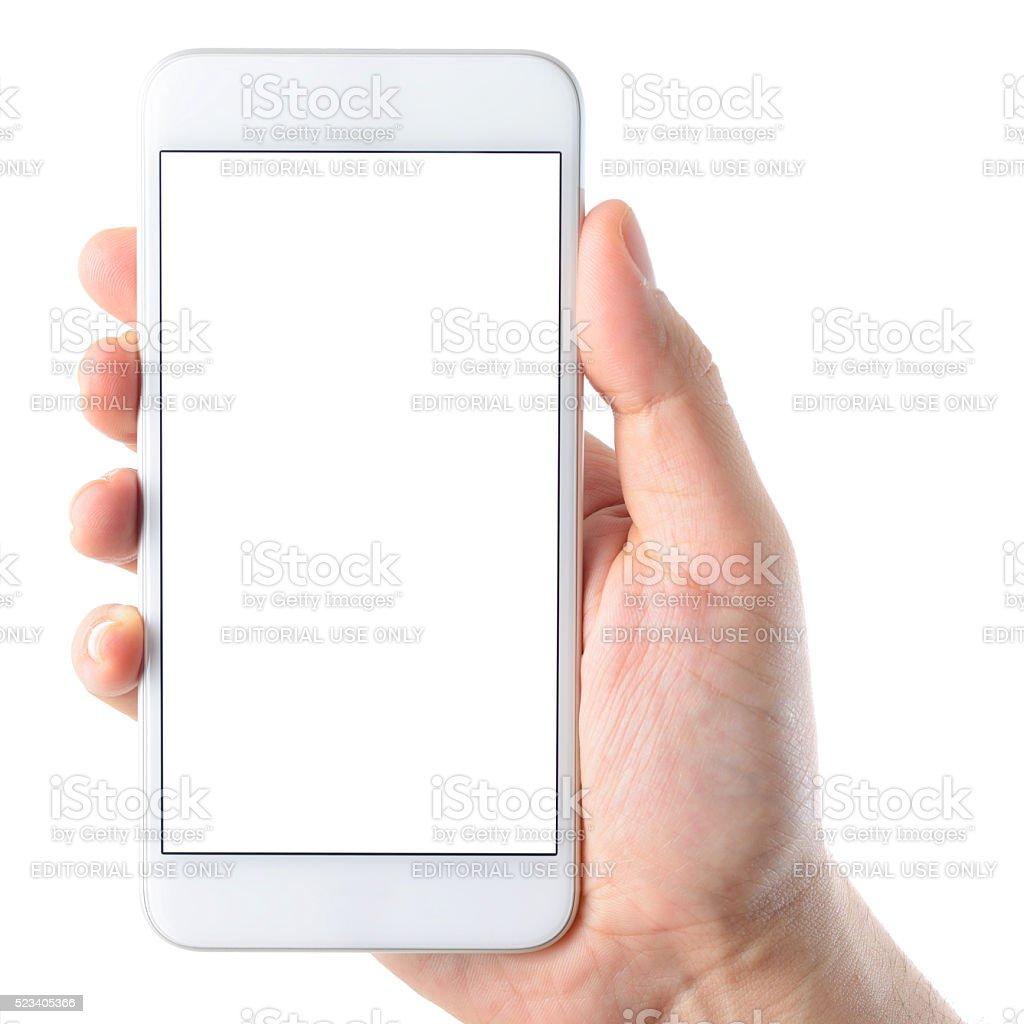 Hand holding iPhone 6 Plus stock photo