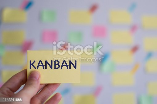 istock A hand holding kanban sticky note in front of a kanban board 1142241688