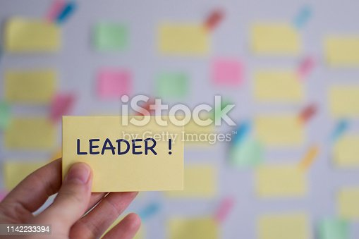 1130063472 istock photo A hand holding leader sticky note in front of a kanban board 1142233394